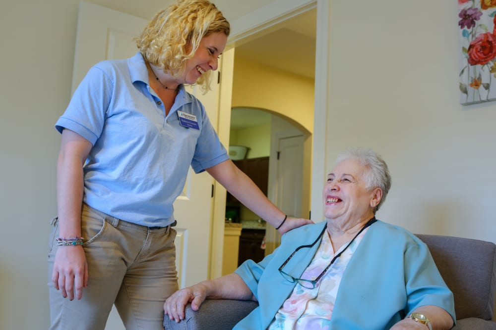 A resident and caretaker at Harmony at West Shore in Mechanicsburg, Pennsylvania