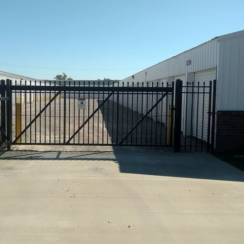 Secure entry gate at Red Dot Storage in Evansville, Indiana