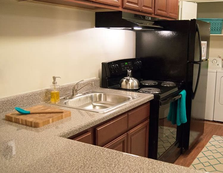 Modern kitchen with black appliances at The Residences of Westover Hills in Richmond, Virginia