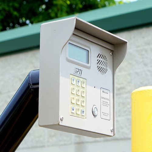 Secure entry keypad at an automated gate at Red Dot Storage in Peoria, Illinois