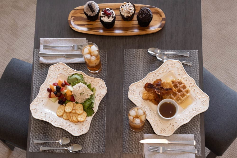 assorted meals with cupcakes