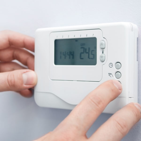 A thermostat keeps things cool at New Highlands Self Storage in Bartow, Florida