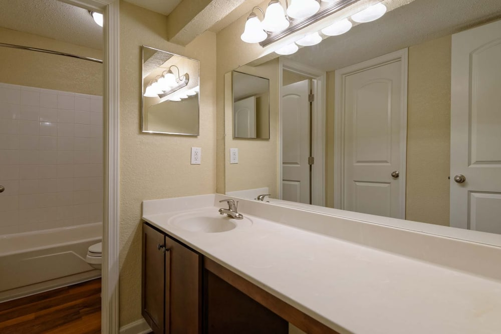 Bathroom at The Lodge on the Chattahoochee Apartments in Sandy Springs, GA