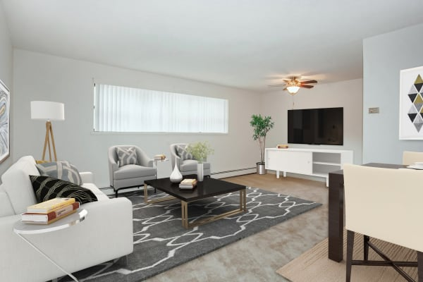 Spacious living room at Lexington House Apartment Homes in Cherry Hill, NJ