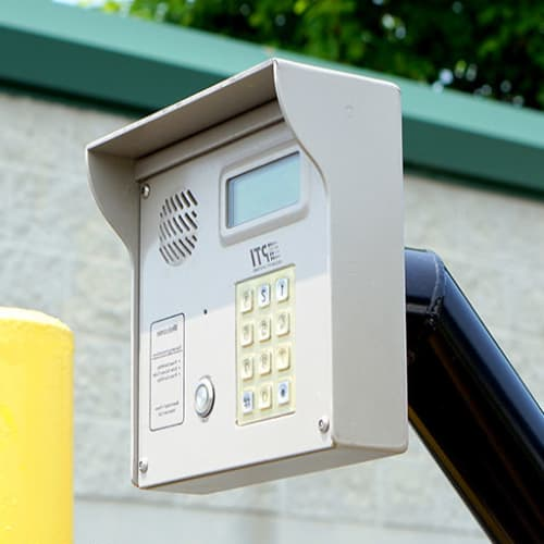 Keypad at the entrance to Red Dot Storage in Lansing, Michigan
