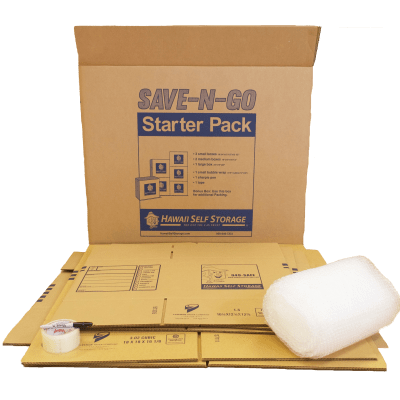 Purchase a SAVE-N-GO Starter Pack in any of our Hawai'i Self Storage location offices