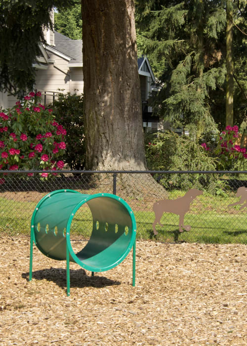 Onsite bark park with agility course at Slate Ridge at Fisher's Landing Apartment Homes in Vancouver, Washington
