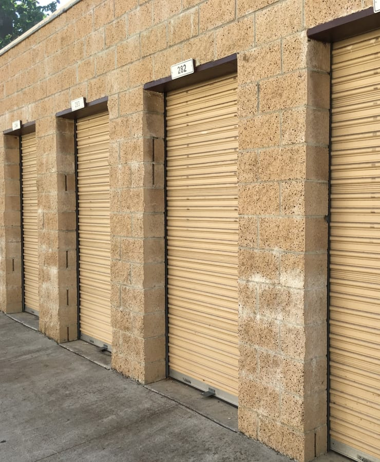 Exterior units at StorQuest Self Storage in Claremont, California