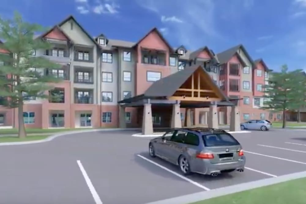 A rendering of the parking lot and exterior of Harmony at Brentwood in Brentwood, Tennessee