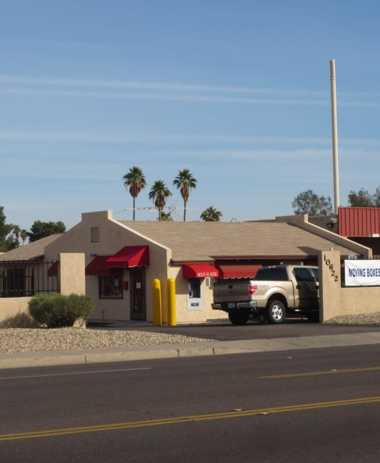 The exterior of the main entrance at StorQuest Self Storage in Phoenix, Arizona