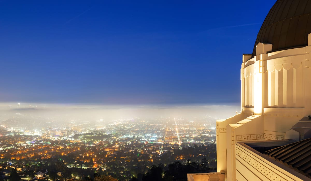 Beautiful dusk view of the city from Griffith Observatory near Rancho Los Feliz in Los Angeles, California