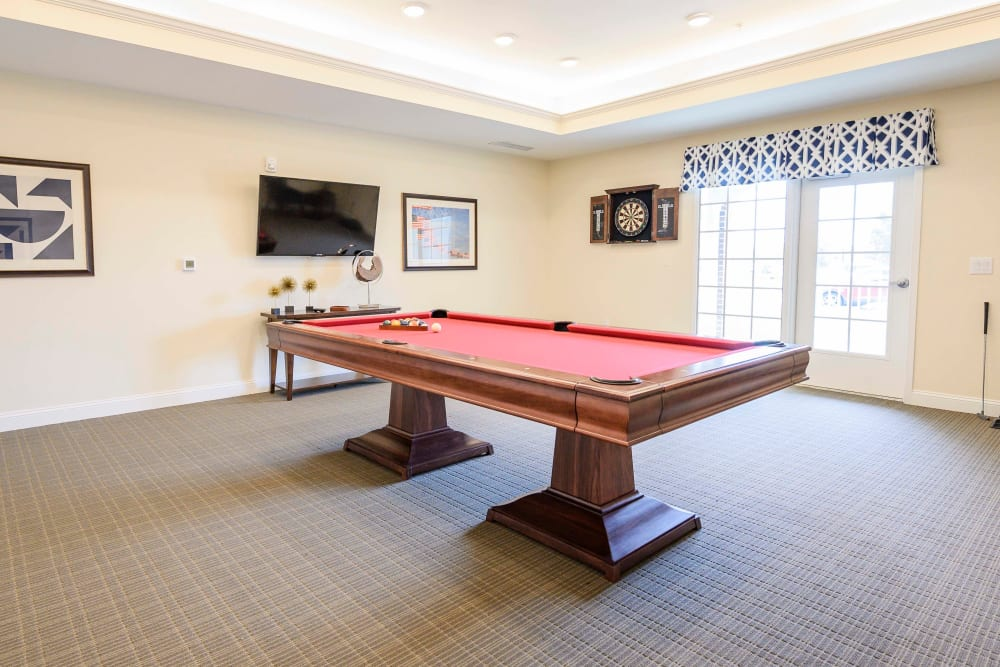 A billiards table in the activity room at Harmony at Victory Station in Murfreesboro, Tennessee