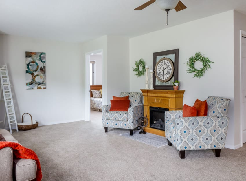 Bright living room at Ramsey Village Continuing Care in Des Moines, Iowa