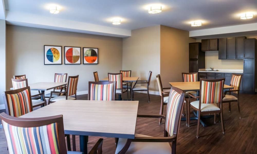 Casual-style dining room at The Sanctuary at West St. Paul in West St. Paul, Minnesota
