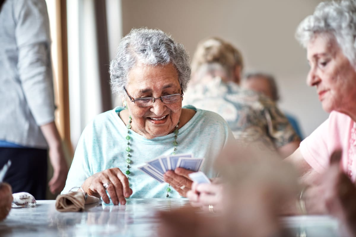Residents playing a game together at Creekside Village in Ponca City, Oklahoma
