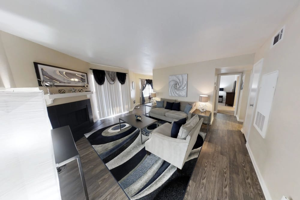 Bright living rooms at Green Meadows Apartments