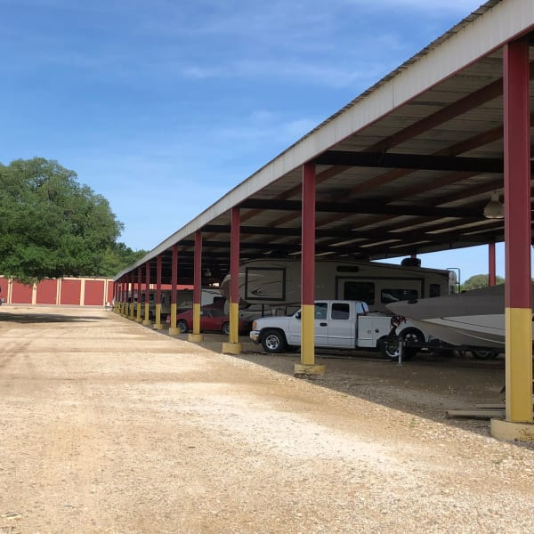 Covered boat, RV, trailer, and auto storage at StorQuest Self Storage in Kyle, Texas