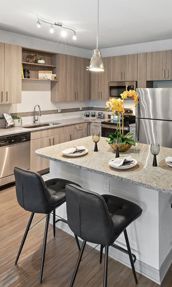 Brightly lit kitchen at Integra 289 Exchange in DeBary, Florida