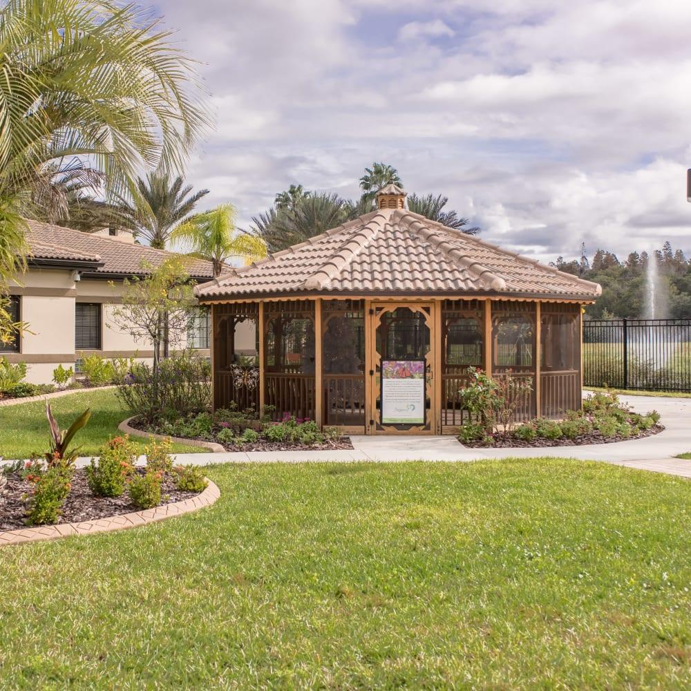 Courtyard gazebo at Inspired Living at Sun City Center in Sun City Center, Florida.