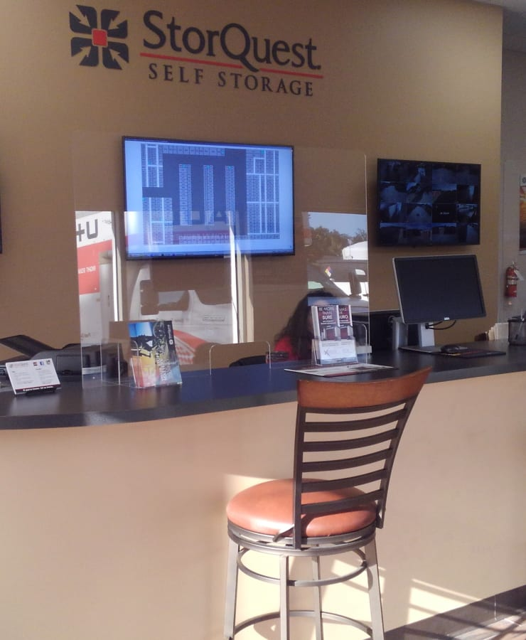 Interior of the leasing office at StorQuest Self Storage in Sanford, Florida
