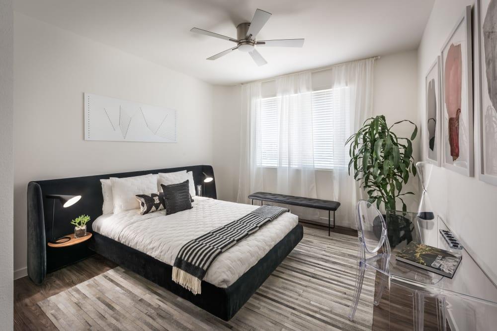 Large master bedroom in model home at Villa Vita Apartments in Peoria, Arizona