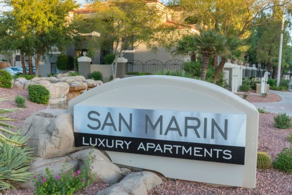 The San Marin at the Civic Center sign in Scottsdale, AZ