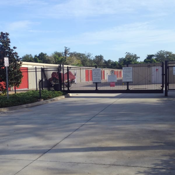 Electronic gate access to outdoor storage units at StorQuest Self Storage in Sanford, Florida