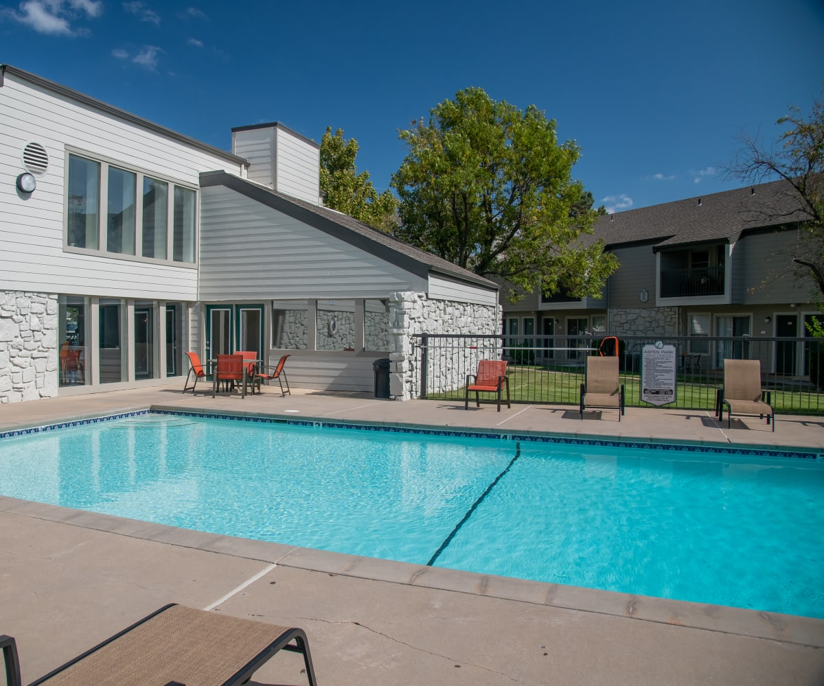 Swimming pool at Aspen Park Apartments in Wichita, Kansas
