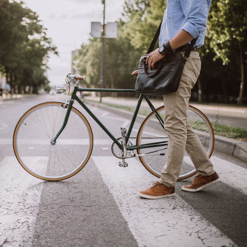 Biking in the city near Morehead West in Charlotte, North Carolina