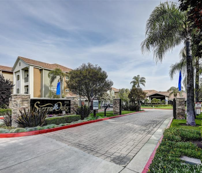 Gated entrance to our community at Sierra Oaks Apartments in Turlock, California
