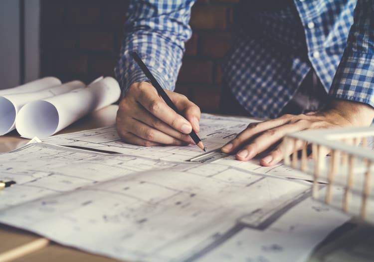 Hand written blueprints at MBK Senior Living in Irvine, California