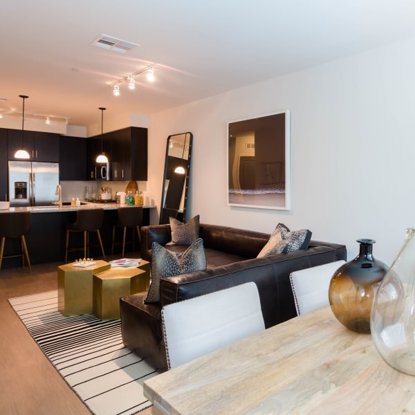 Open-concept floor plan in model home at Avant at Fashion Center in Chandler, Arizona