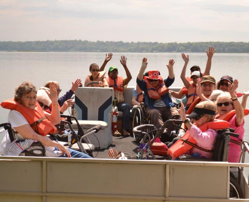 Residents on a boat trip near Ebenezer Ridges Campus in Burnsville, Minnesota