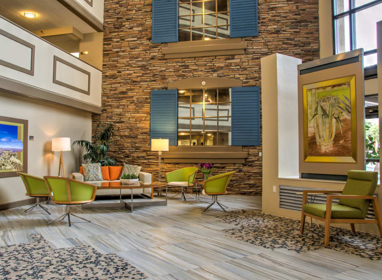 Beautifully designed indoor common area at Bella Vista Senior Living in Mesa, Arizona