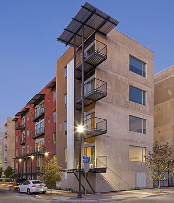 Streetside view of 1221 Broadway Lofts in San Antonio, Texas