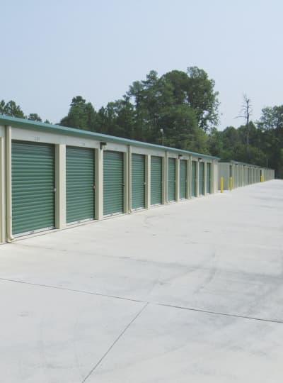 Outdoor storage units at Cardinal Self Storage in Graham, North Carolina