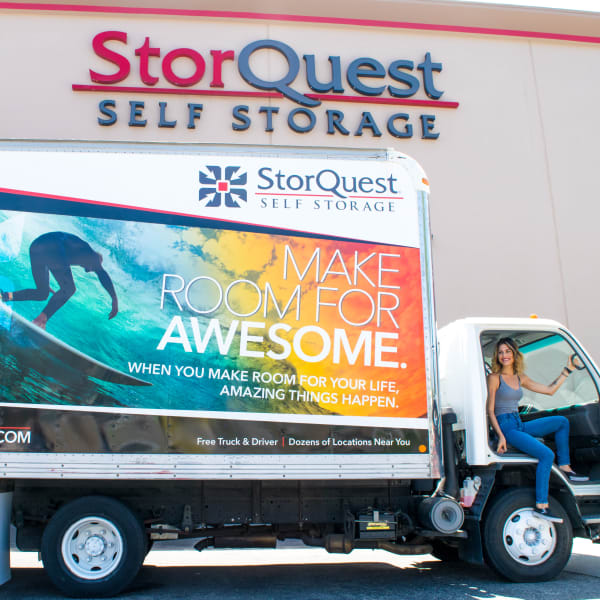 A moving truck available at StorQuest Self Storage in Bradenton, Florida