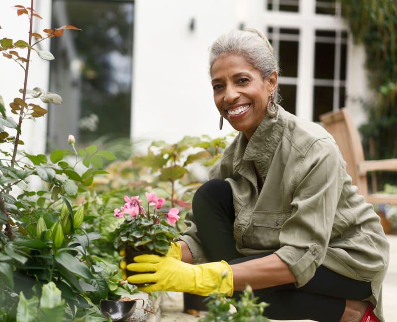 Resident gardening at Arbor Glen Senior Living in Lake Elmo, Minnesota