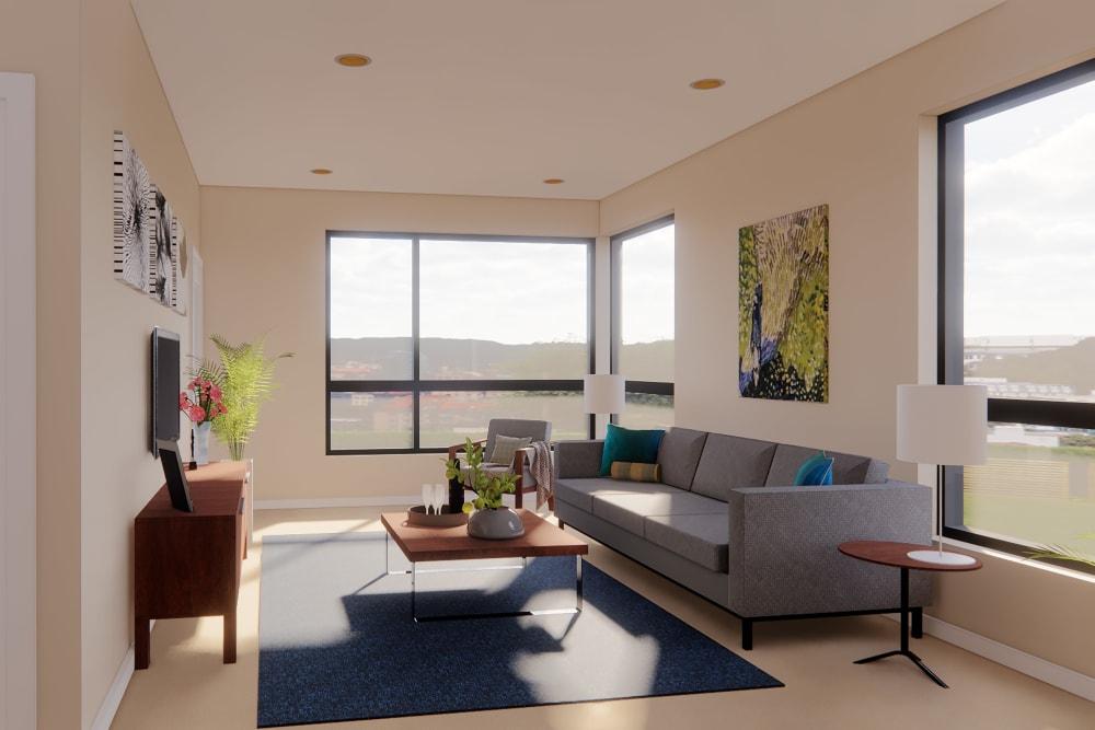 Spacious living room at Merrill Gardens at Renton Centre in Renton, Washington.