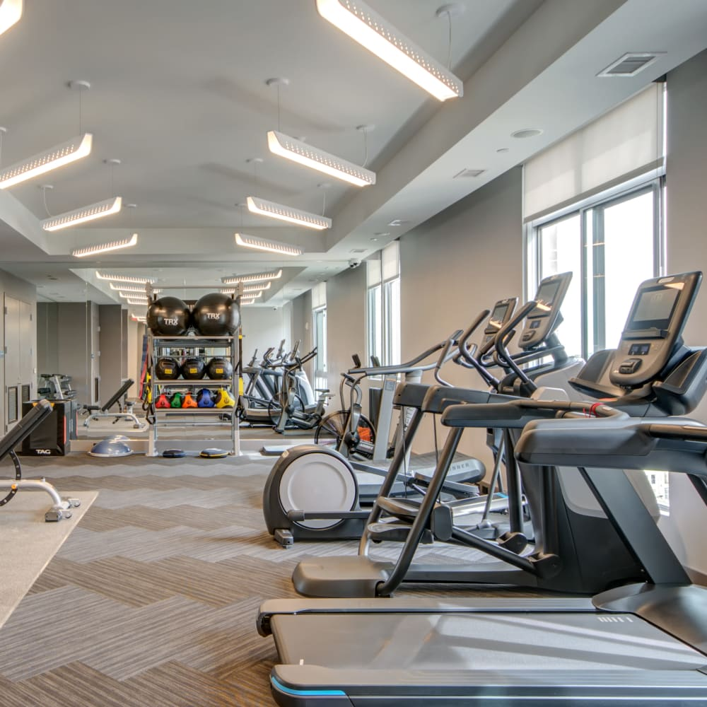 Spacious gym with a weight set at Harlow in Washington, District of Columbia