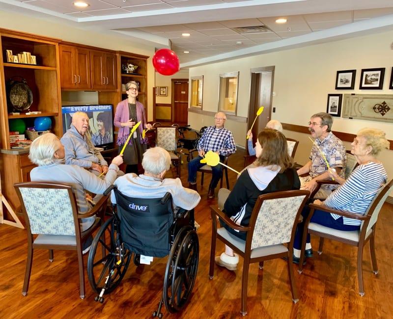 Resident activities group at Arbor Glen Senior Living in Lake Elmo, Minnesota
