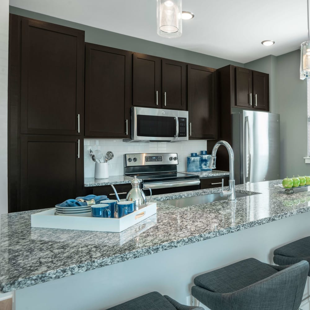 Kitchen with stainless-steel appliances at Elevate at Brighton Park in Summerville, South Carolina