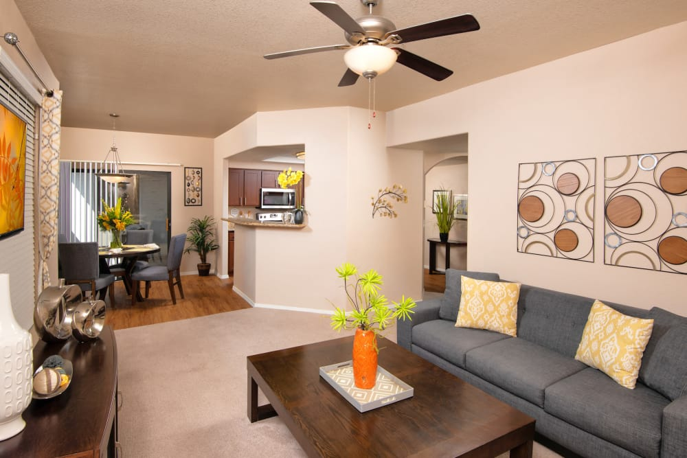 Living room at San Antigua in McCormick Ranch in Scottsdale, Arizona