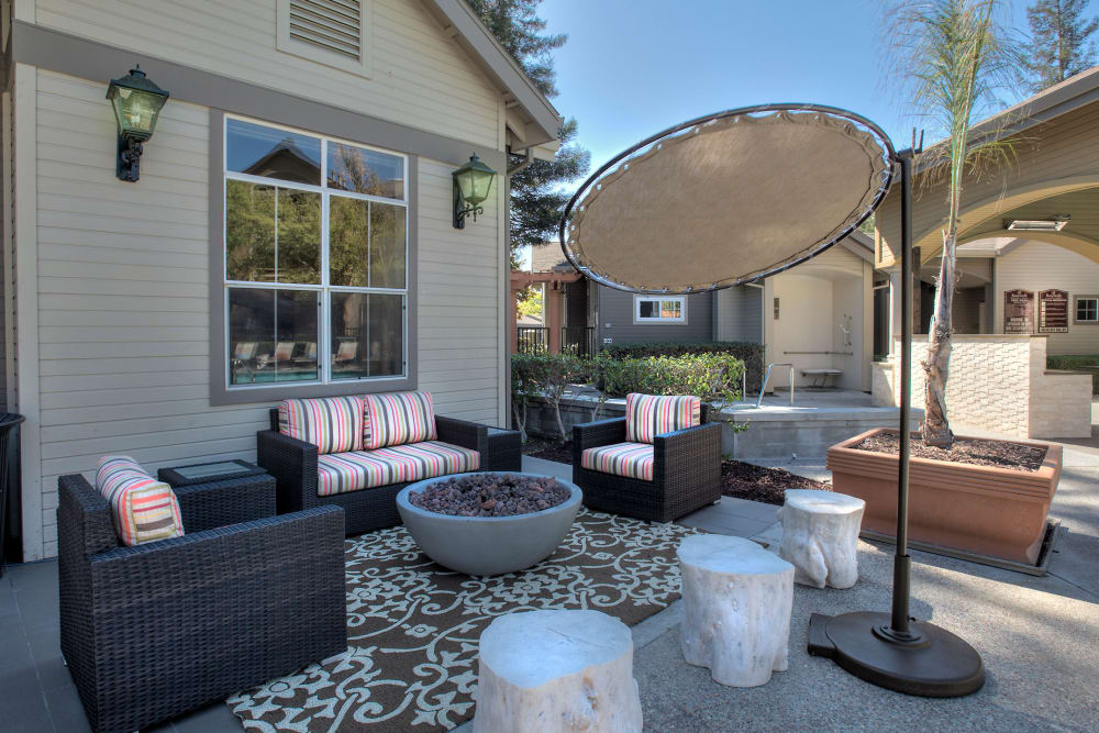 Shaded outdoor lounge area at Rosewalk in San Jose, California