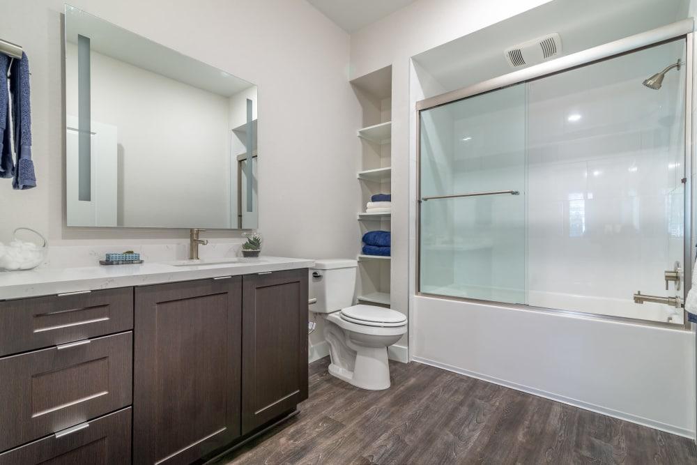 Spacious bathroom at Montecito Apartments at Carlsbad in Carlsbad, California