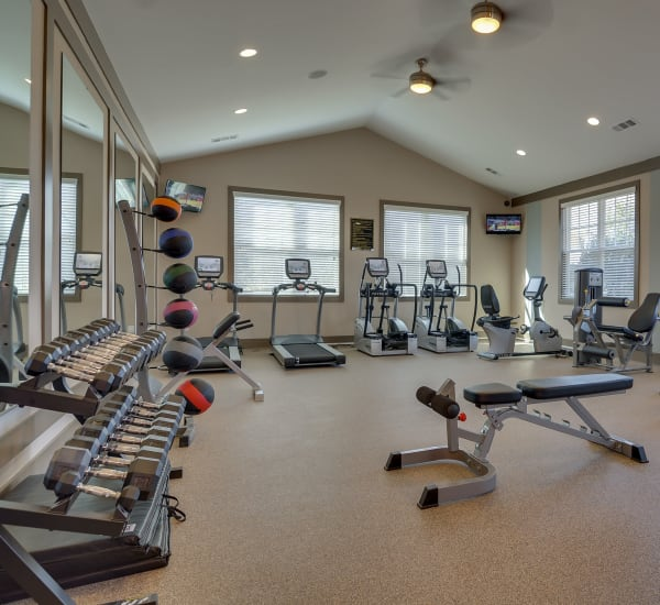Fully equipped fitness center at Lullwater at Riverwood in Evans, Georgia