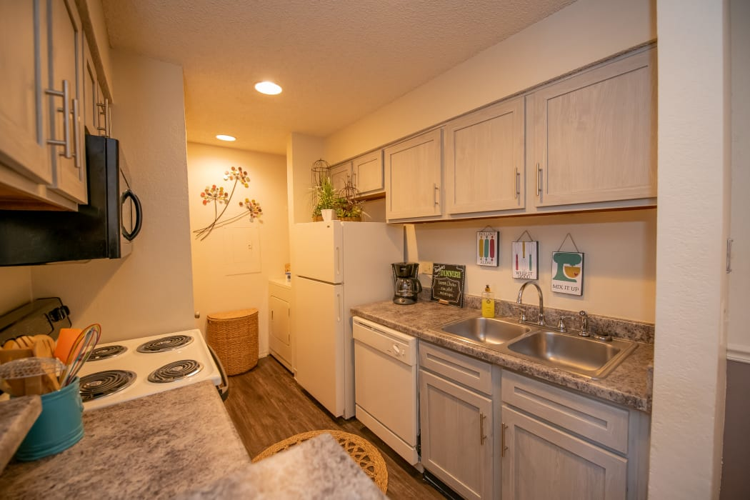 Bright kitchen at Polo Run Apartments in Tulsa, Oklahoma
