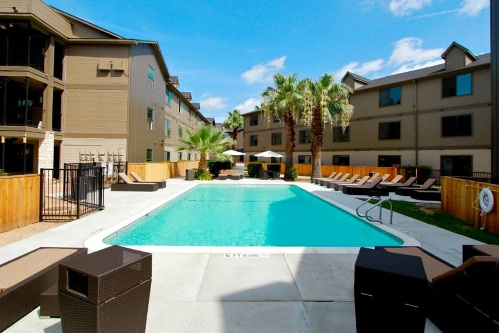Our apartments in Austin, Texas showcase a beautiful swimming pool