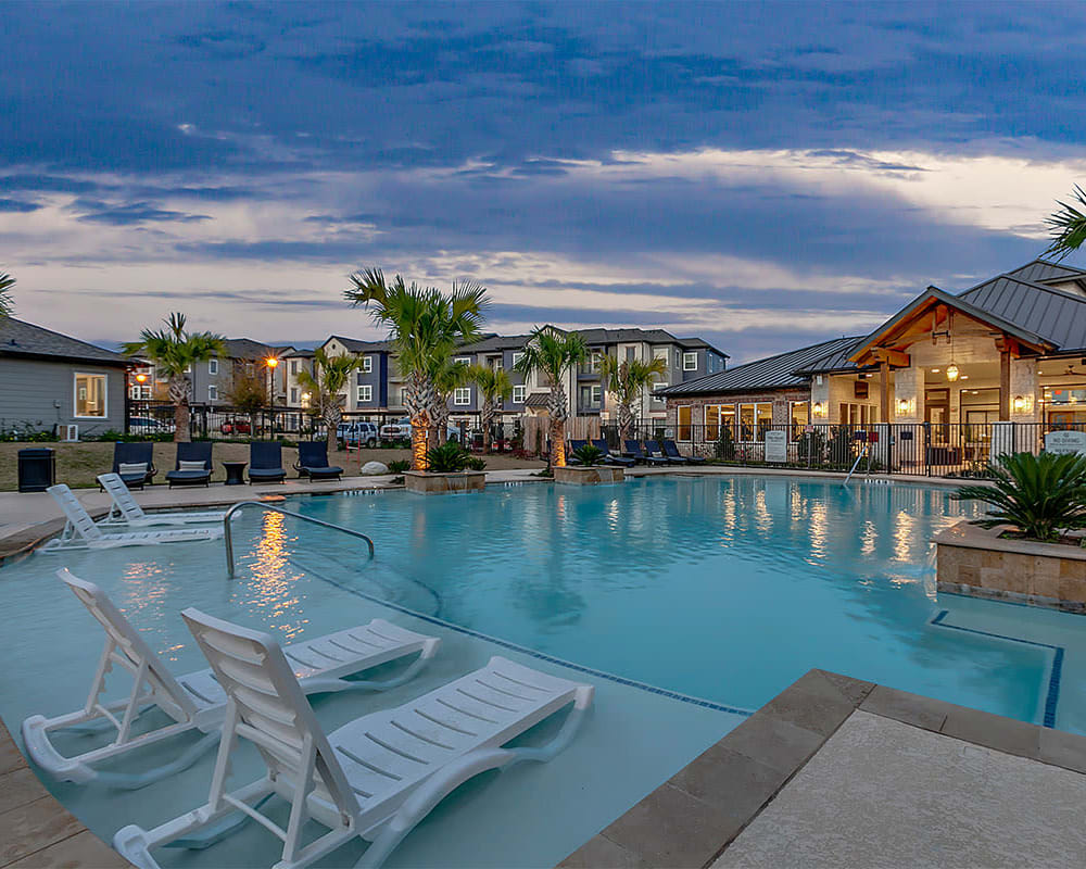 State-of-the-art swimming pool at Plum Creek Vue in Kyle, Texas