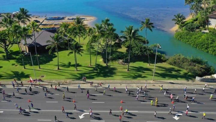 Picture of many walkers and runners on a road with palm trees, green grass, and the Pacific Ocean in the background